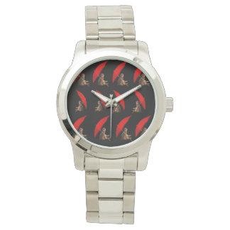 Meerkat_Under_Umbrella_Large_Silver_Unisex_Watch. Wristwatch