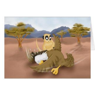 meerkat vs eagle greeting card