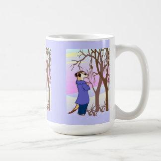 Meerkat  Walking in the woods Basic White Mug