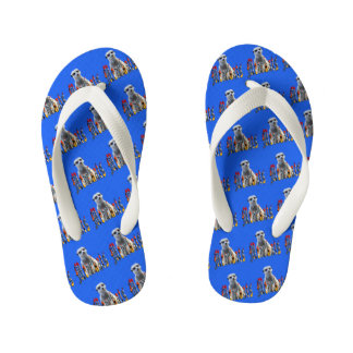 Meerkat With Meerkats Logo, Blue Kid's Flip Flops