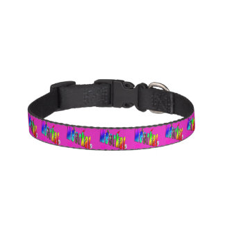 Meerkats And Dimensional Logo, Pink Dog Collar