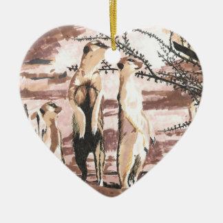 meerkats ceramic heart decoration