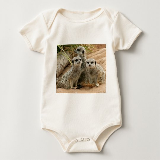 Meerkats on the lookout Orgabic Baby Bodysuit