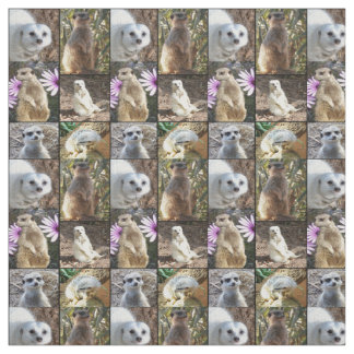 Meerkats Photo Collage Combed Cotton Material Fabric