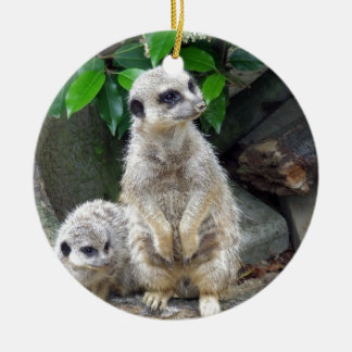 Meerkats Round Ceramic Decoration