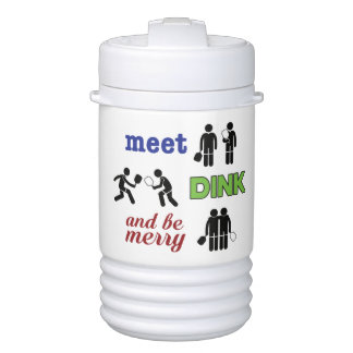 """Meet, Dink, and Be Merry"" Pickleball Water Jug Drinks Cooler"