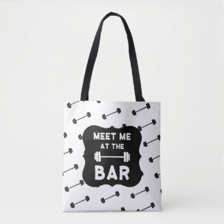 Meet Me At The Bar Workout Gym Barbell Tote