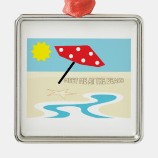 Meet Me At The Beach Silver-Colored Square Decoration
