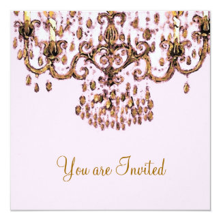 "Meet Me Under the Chandelier ~ Invitations 5.25"" Square Invitation Card"