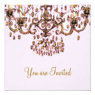 """Meet Me Under the Chandelier ~ Invitations 5.25"""" Square Invitation Card"""