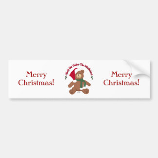 Meet Me Under The Mistletoe! Christmas Teddy Bear Bumper Sticker