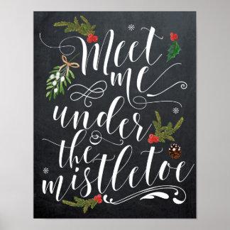 Meet me under the mistletoe holiday xmas print