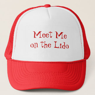 Meet on Lido Red Text Trucker Hat