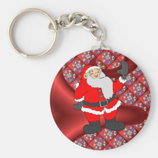 Meet Santa, Red Traditional Floral design Basic Round Button Key Ring