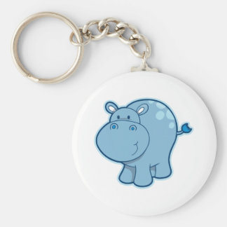 Meet the Blue Hippo! Basic Round Button Key Ring