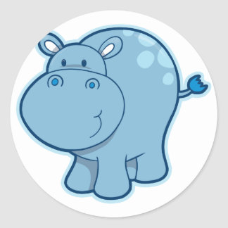Meet the Blue Hippo! Round Sticker
