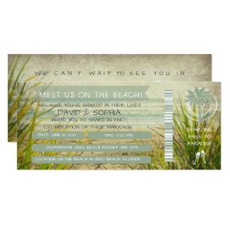 Meet Us on the Beach Wedding Boarding Pass 10 Cm X 24 Cm Invitation Card