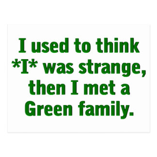 Meeting a Green Family Post Card