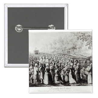 Meeting in the Desert, engraved by L. Bellotti 15 Cm Square Badge