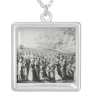 Meeting in the Desert, engraved by L. Bellotti Silver Plated Necklace