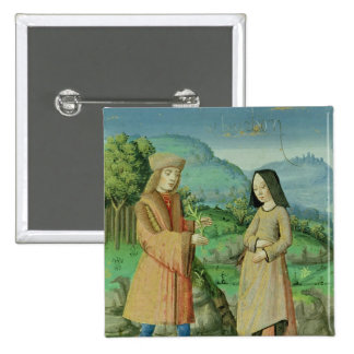 Meeting of Aeneas and Anne, the sister of Dido 15 Cm Square Badge