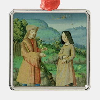 Meeting of Aeneas and Anne, the sister of Dido Silver-Colored Square Decoration
