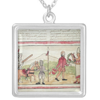 Meeting of Hernando Cortes  and Montezuma Silver Plated Necklace
