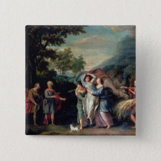 Meeting of Jacob and Laban with Rachel, Leah and S 15 Cm Square Badge