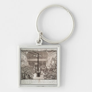 Meeting of the Jacobin Club, January 1792 Silver-Colored Square Key Ring