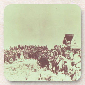 Meeting of the Union Pacific and the Central Pacif Beverage Coaster