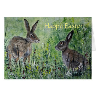 Meeting Place blank Easter card pair of hares