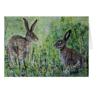 Meeting Place blank greeting card pair of hares