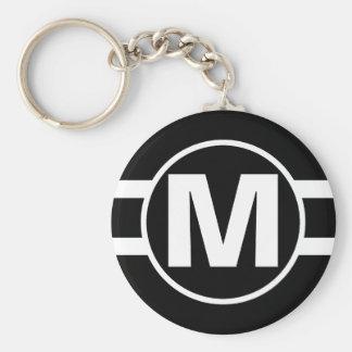 Mega Black Retro Monogrammed Key Ring