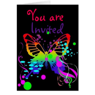 Mega Color Butterfly on Black Kids Party Invites
