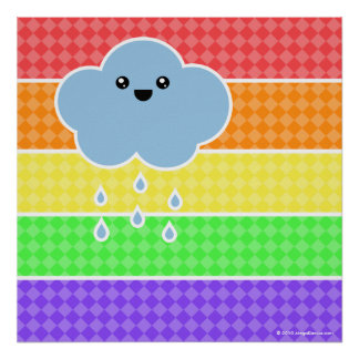 Mega Kawaii Happy Cloud Rainbow Poster