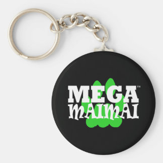 Mega Maimai Paw Print Green Basic Round Button Key Ring