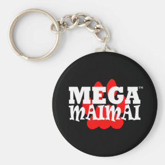 Mega Maimai Red Paw Print Basic Round Button Key Ring