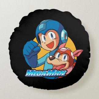 Mega Man & Rush 2 Round Cushion