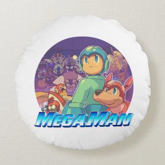Mega Man & Rush Key Art 2 Round Cushion