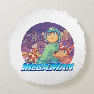 Mega Man & Rush Key Art Round Cushion