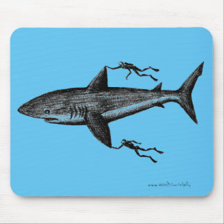 Megalodon shark and divers cool ink pen drawing mouse mat
