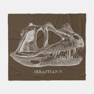 Megalosaurus Dinosaur Skull Paleontology Brown Fleece Blanket