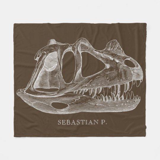 Megalosaurus Dinosaur Skull Paleontology Brown Fleece Blanket