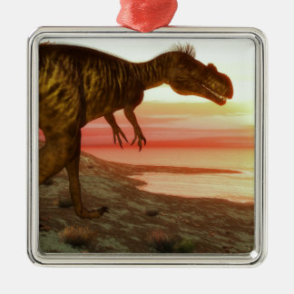 Megalosaurus dinosaur walking toward the ocean Silver-Colored square decoration