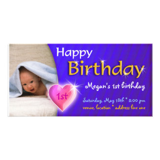 Megan Adorable Lovely Birthday Photo Invitation Photo Card Template