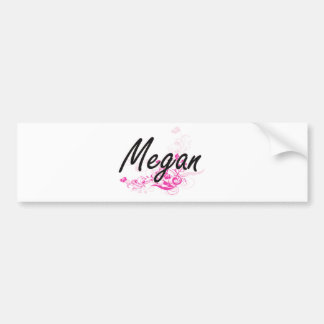 Megan Artistic Name Design with Flowers Bumper Sticker