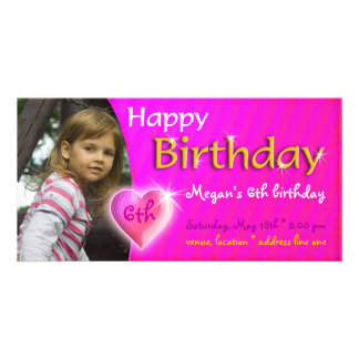 Megan Birthday Photo Invitation | Adorable heart Personalized Photo Card