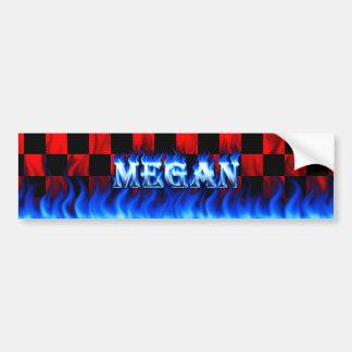 Megan blue fire and flames bumper sticker design