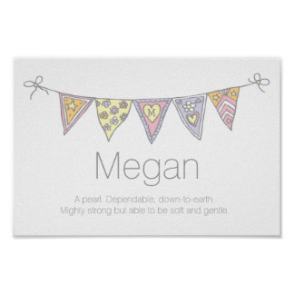 Megan girls name and meaning bunting poster