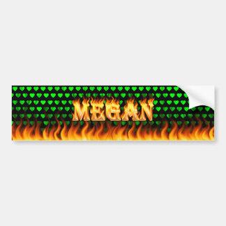 Megan real fire and flames bumper sticker design.